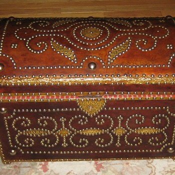 Ornate Leather Covered Trunk