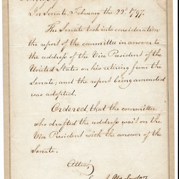 1797 Vice President John Adams Retires from US Senate - Paper