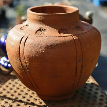Arts and Crafts Terracotta Vase with Imprints - Arts and Crafts