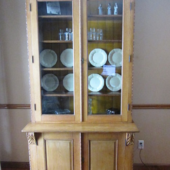 Large Antique Egg And Dart Molding Bookcase Or Cabinet
