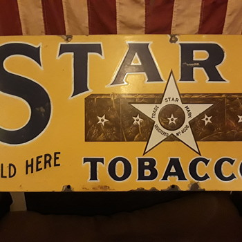 old STAR TOBACCO porcelain enameled advertising sign - Signs
