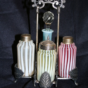 Victorian Art Glass condiment sets - Kitchen