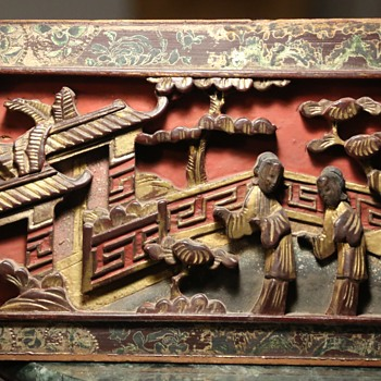 Beautiful and Old Carved and Painted Chinese Panel - Asian