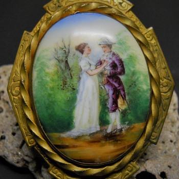 Vintage Napoleon & Josephine Porcelaine Painted Enamel Brooch/Sash Pin.  - Fine Jewelry