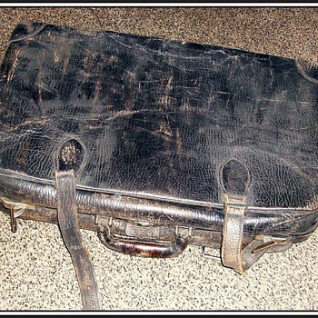 Vintage Leather Suitcase -- Unknown - Bags