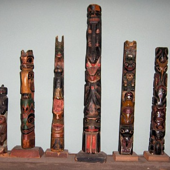 smaller northwest coast totems - Native American