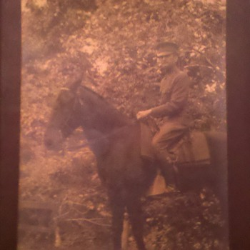 "WWI RPPC US Army Officer on horse back, Id'ed as Co. ""B"" 112 Engineers 37th Division"
