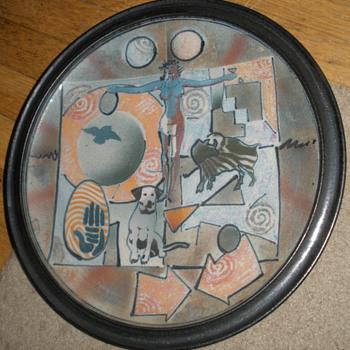 """A Kind Of Game Board:""  Stoneware Art Plate - Folk Art"