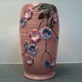 Coral Pink Raised Floral Design Vase / Marked 89  L 284 c /Haling English Pottery / Circa early 1900's - Pottery