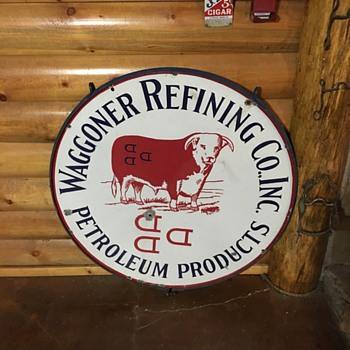 Rare Waggoner petroleum ranch sign - Signs