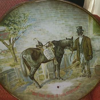 Large Tin Tin Hanging W/ African American Man & Horse - Fine Art
