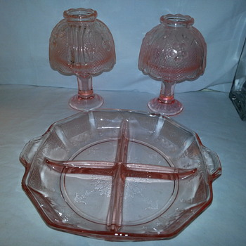Pretty Pink Depression Glass Candle Lamps - Glassware