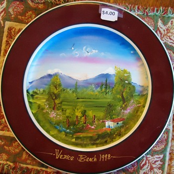 Garage Sale Painted Plate! Pretty but who is Artist? I can not read! - China and Dinnerware
