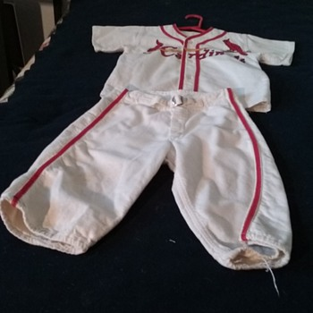 A child's Baseball Uniform with the name Cardinal's on the front/ Post Mfg. Co./ New York.  1950's era. Approximately size 4/5.