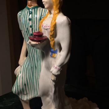 1940 Brayton Laguna Figurines - a Couple in Pyjamas?! - Pottery