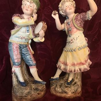 Majolica Figurines Folk Dancers: German? or-?  - Figurines