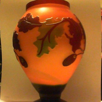 peach frosted 7 inch vase with oak leaf and acorn overlay - Art Glass
