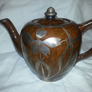 PORCELAIN BROWN TEAPOT WIH MESH STERLING SILVER OVERLAY  - Pottery