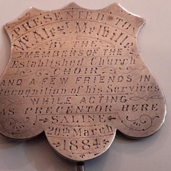 1884 church choir medal - Medals Pins and Badges