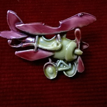 Enamel On Metal Bi-plane Pin Thrift Shop Find 90 Cents ($0.95)