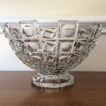 Libochovice pressed glass footed bowl