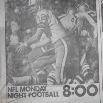 Monday Night Football ads - Minneapolis Tribune 1973, 1974 Pro Football HOF inductees, Chuck Foreman