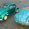 pair of old TONKA Volkswagen Beetles