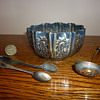 Antique British silver sugar bowl and spoons