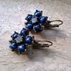 Deep Blue Tiger Eye & Crystal (?) Costume Earrings