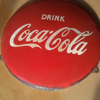 Coca Cola sign enamel  Ø  40 cm (15,74 inch), found it in Holland late 70`s