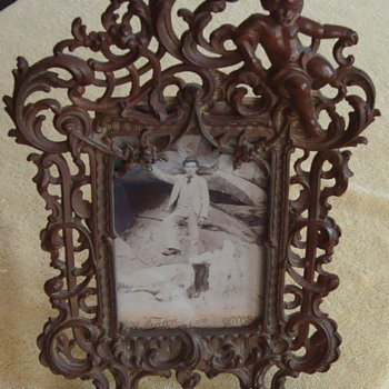 Ornate Brass Frame for Antique Cabinet Card Photo. - Photographs
