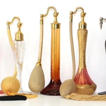 Art Deco DeVilbiss Atomizers - 1920s - Now WHO made the glass bottles?  - Bottles