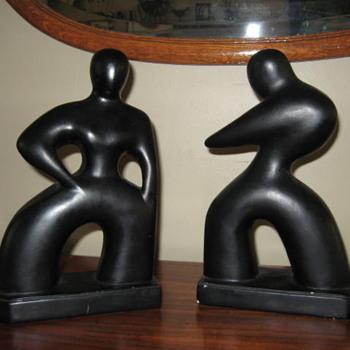 Art deco black figurine book ends  - Art Deco