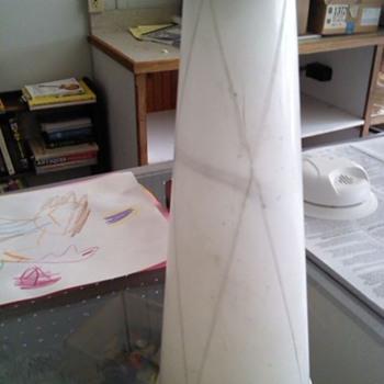 Alabaster & wood base. Fiberglass shades? - Lamps