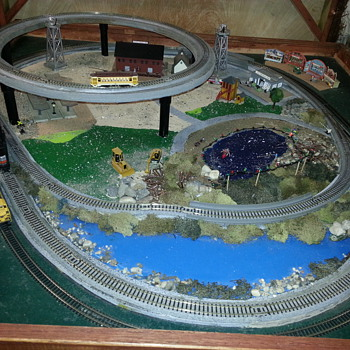 my portable, 3 train layout.   - Model Trains