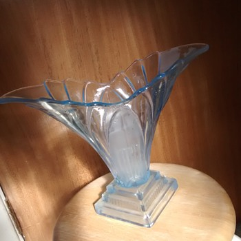 Pale Blue Art Deco influenced large glass Vase, maker and age unknown, but the style is Art Deco I believe? - Art Deco