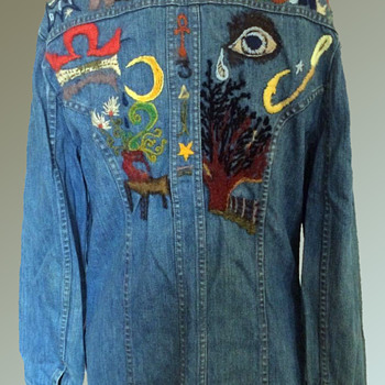 OOAK Embroidered Sedgefield Hippie Denim Jacket from the early 1970s - Mens Clothing