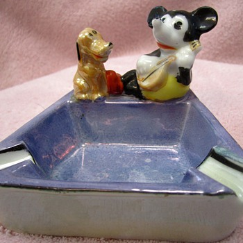 Mickey Mouse and Pluto Ashtray - 1930's - Advertising