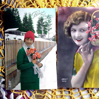 VINTAGE FRENCH REAL PHOTO POSTCARDS WITH VERY ODD HAND COLORING ENHANCEMENT - Postcards