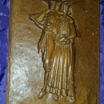Colonial carved wood picture, very hard wood