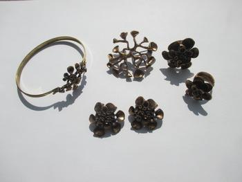 Solid Bronze Renmoosbl\u00fcte Hannu Ikonen Symmetrical Reindeer Moss Ring Iceland Moss Vintage Finland Modernist Scandinavian Finnish