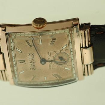 Mens Gruen Curvex Rose Gold Filled Dress Watch - Wristwatches