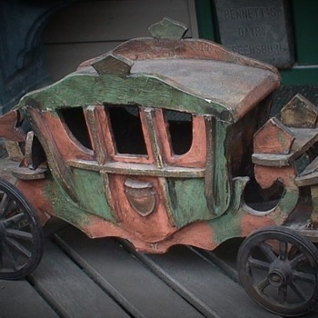 Vintage Wooden Coach/Carriage - Folk Art