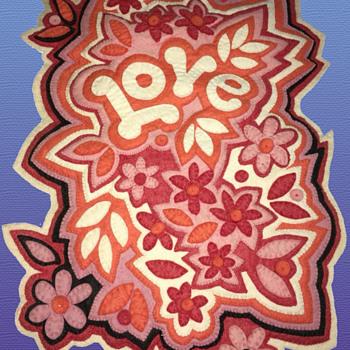 "Original 1960s California Hippie Folk Art ""LOVE"" Felt Handmade Wall Hanging - Folk Art"