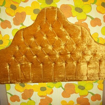 "Fun ""70's Show"" Vintage Bed and Crushed Velvet Headboard - Mid-Century Modern"