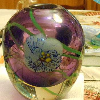Encased Purple Floral Vase a true mystery! - Art Glass