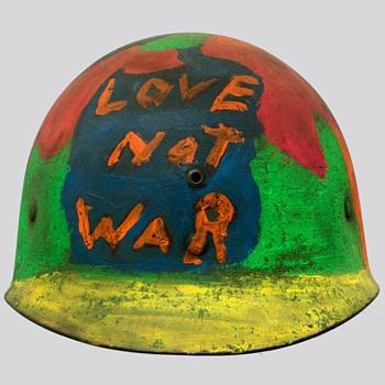 1960's Hand Painted LOVE NOT WAR HIPPIE PROTEST HELMET  - Politics