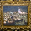 Venice Italy Night Painting by Bepi Oliveri In Hand-Carved Frame (circa 1920s)