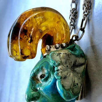 Unusual Amber and Carved Stone Mayan Necklace - Fine Jewelry