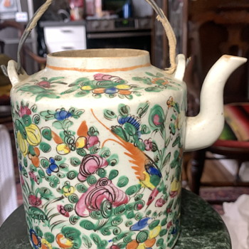 Famille Rose Teapot in a Basket - Asian